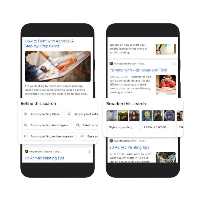 Die Optionen Refine und Broaden this Search bei Google