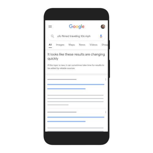 Google zeigt auch an, wenn noch keine sehr relevanten Suchergebnisse vorhanden sind
