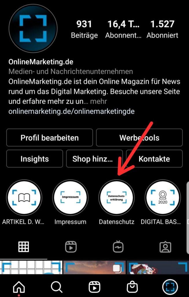 Highlights bei Instagram sind wie Video-Pins bei TikTok, © Screenshot Instagram