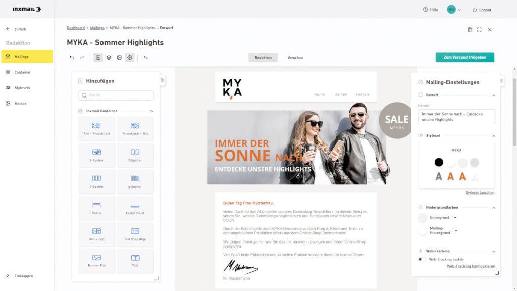 Die Mailing-Redaktion in Inxmail New Xperience erfolgt schnell und flexibel