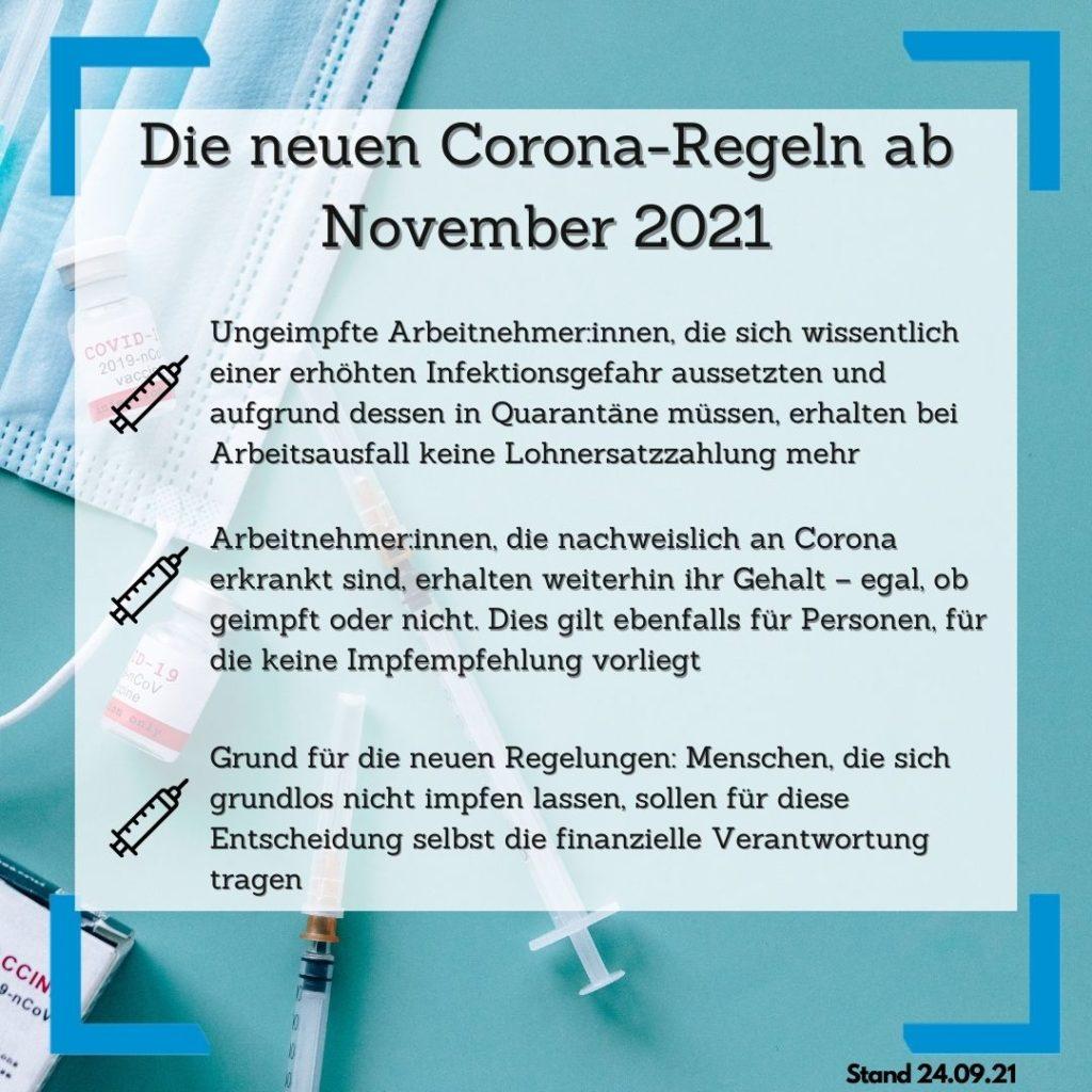 Neue Corona-Regeln ab November 2021
