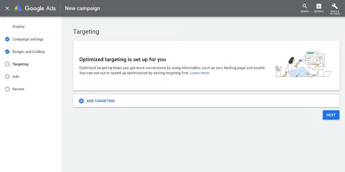 Optimiertes Targeting in einer Display-Kampagne bei Google