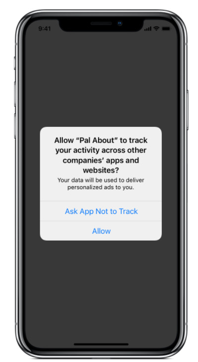 Pop-up zur App Tracking Transparency bei iOS