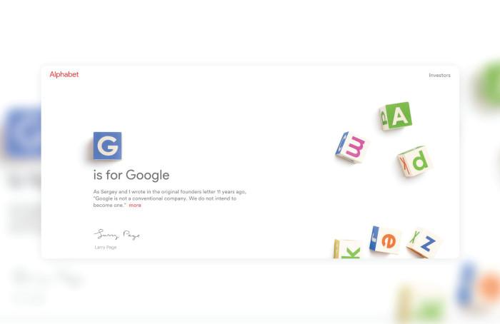 Startseite von Alphabet