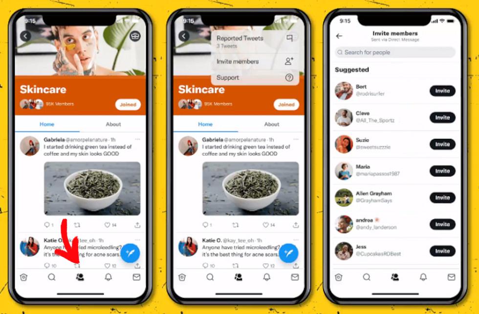 Der neue Communities Tab in der Twitter App, © Twitter