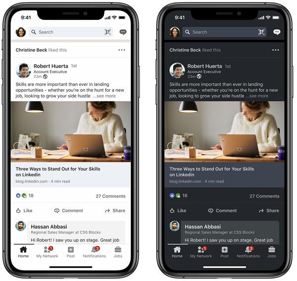 Der Dark Mode bei LinkedIn in der App, © LinkedIn
