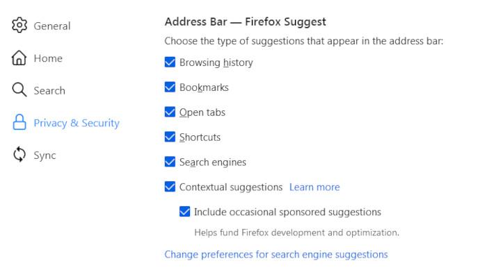 Einstellungen zu Anzeigen in der Adresszeile bei Mozilla Firefox