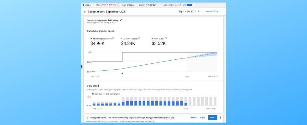 Neuer Budget-Report für Google Ads-Kampagnen