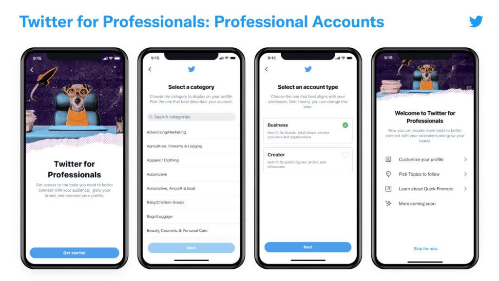 Kontoerstellung bei Twitter for Professionals