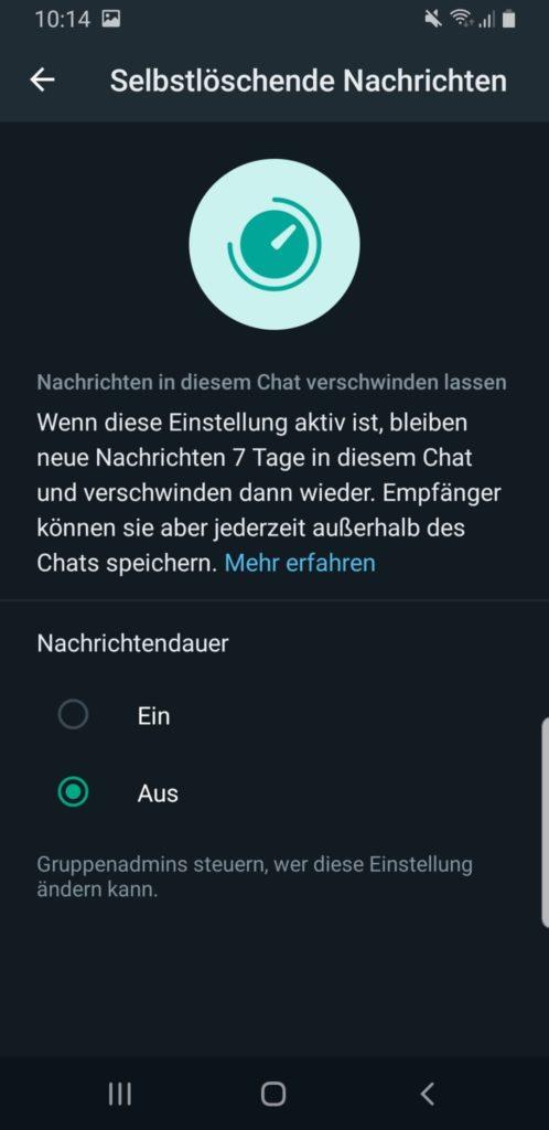 Whatsapp selbstlöschende Nachrichten