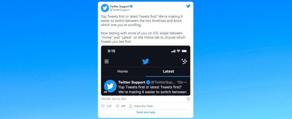 Twitters Swipe zur chronologischen Timeline